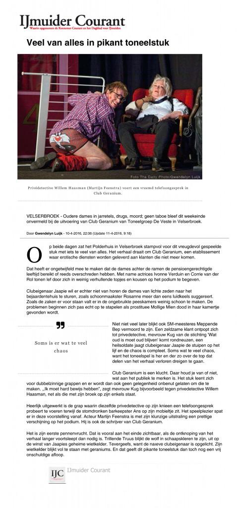 IJmuider Courant - Veel van alles in pikant toneelstuk